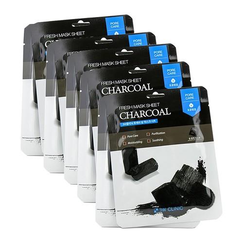 Bộ 5 sản phẩm mặt nạ dưỡng da chiết xuất từ than hoạt tính 3w clinic mask sheet 23ml x 5
