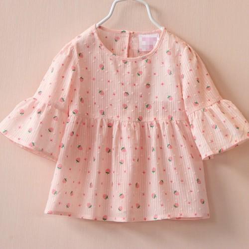 Áo cổ tròn xòe thời trang xinh xắn cho bé gái