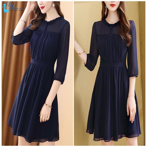 Đầm công sở tay lỡ màu xanh đen
