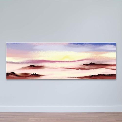"""Tranh treo tường khổ lớn """"sương mù mây mờ""""   tranh treo phòng ngủ w3515"""