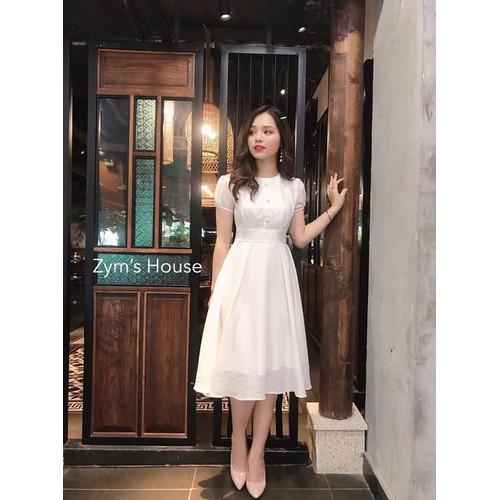 Đầm nữ dáng xòe nút bọc tay phồng chất kate lụa freesize xanh trắng hồng - 12412232 , 20199836 , 15_20199836 , 210000 , Dam-nu-dang-xoe-nut-boc-tay-phong-chat-kate-lua-freesize-xanh-trang-hong-15_20199836 , sendo.vn , Đầm nữ dáng xòe nút bọc tay phồng chất kate lụa freesize xanh trắng hồng