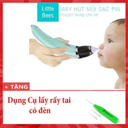 [FREE SHIP] Máy Hút Mũi Tự Động Thông Minh Dành Cho Bé Loại sạc điện tặng dụng cụ ráy tai có đèn