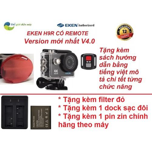Version 7.0 nâng cấp 20mp - camera hành trình eken h9r- bảo hành 12 tháng, đổi tra 1 với 1- tặng filter đỏ, dock sạc đôi và pin 1050, khóa học làm video