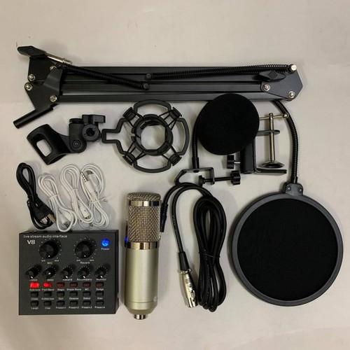 Trọn bộ thu âm live tream v8 mic bm900 đủ phụ kiện tặng kèm tai nghe