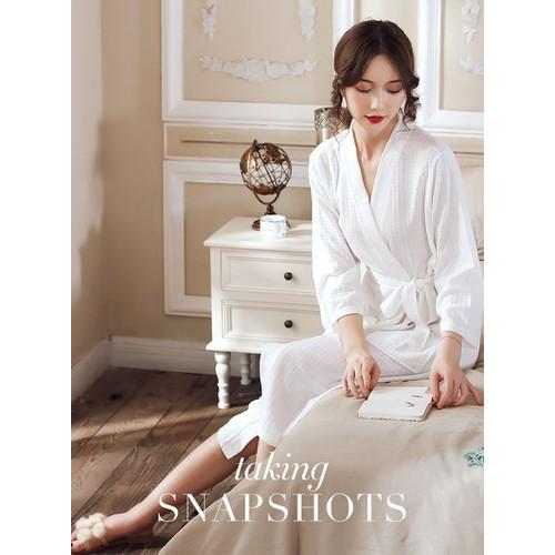 Áo choàng ngủ thắt dây cột eo sang trọng cotton siêu mịn