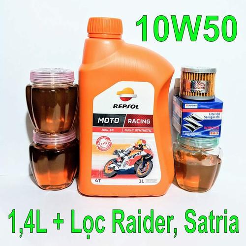 1,4l nhớt repsol racing 10w50 và 1 lọc nhớt suzuki raider, satria