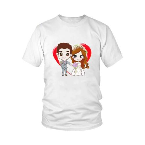 Áo thun cặp dành cho đôi tình nhân siêu lãng mạn m34 - một áo