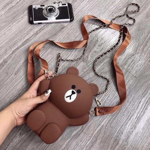 Túi gấu – gấu brown silicon 3 dây