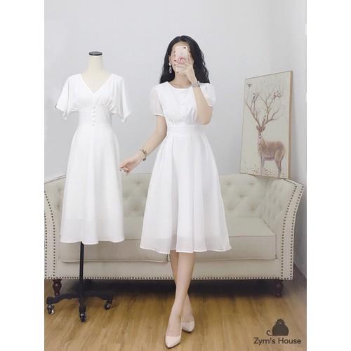 Đầm nữ dáng xòe nút bọc tay phồng chất kate lụa freesize xanh trắng hồng - 12424281 , 20217646 , 15_20217646 , 210000 , Dam-nu-dang-xoe-nut-boc-tay-phong-chat-kate-lua-freesize-xanh-trang-hong-15_20217646 , sendo.vn , Đầm nữ dáng xòe nút bọc tay phồng chất kate lụa freesize xanh trắng hồng