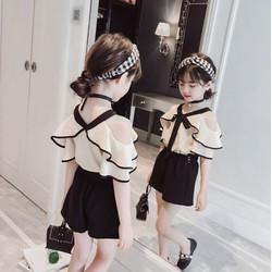B80349 - Set áo và quần hè bé gái hàng nhập