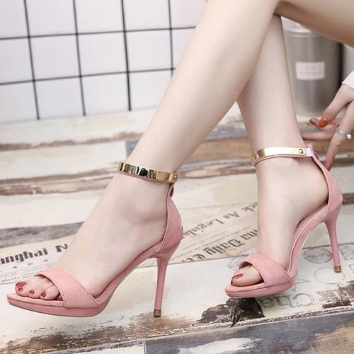 Giày cao gót kéo khóa quai viền vàng cao cấp