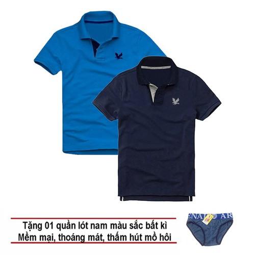 Áo thun nam logo mẫu mới, Combo 2 áo [ Xanh dương, Xanh đen ] tặng kèm 1 quần lót nam