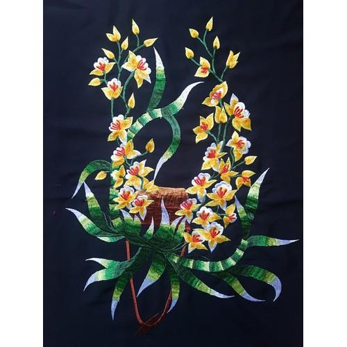 Tranh thêu hoa lan vàng - tranh thêu vi tính thành phẩm chưa khung