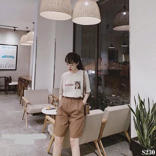 Ps230-Set quần ngố áo nâu cô gái