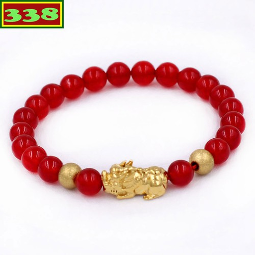 Vòng đeo tay tỳ hưu inox vàng - chuỗi thạch anh đỏ 6 ly size s vtaomthhbv6