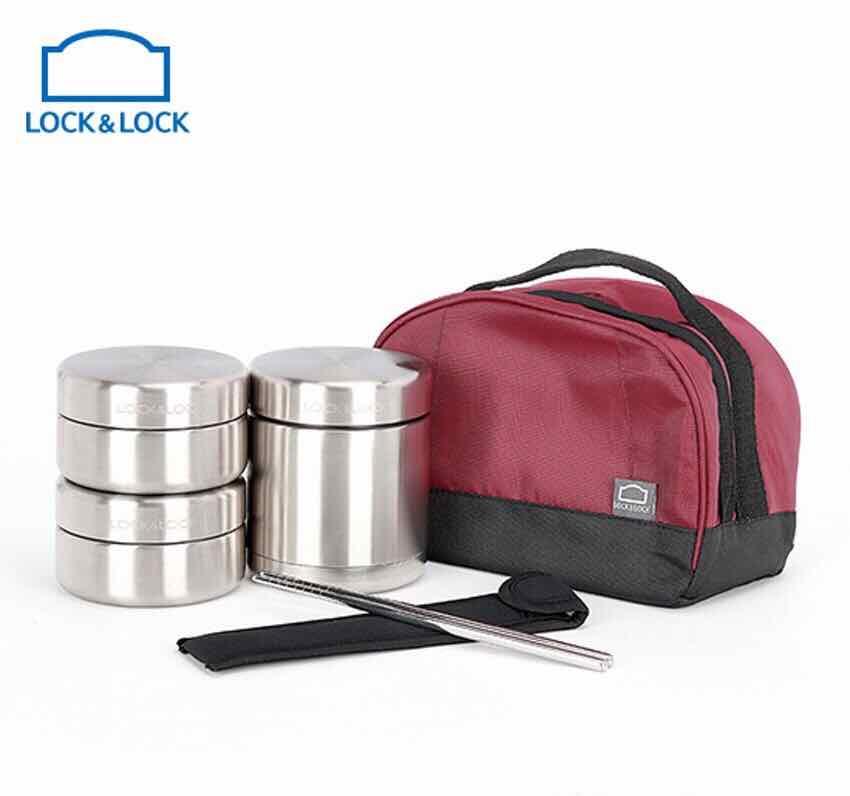 BỘ HỘP CƠM GIỮ NHIỆT INOX 304 LOCK LOCK LHC8015