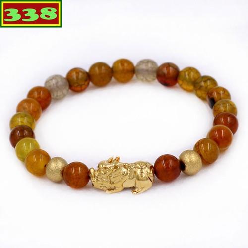 Vòng đeo tay tỳ hưu inox vàng - chuỗi đá vân rồng 6 ly size s vvrthhbv6 - vòng tay phong thủy
