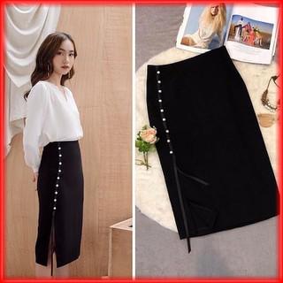 Chân váy nữ công sở midi chất vải umi dính ngọc nhẹ nhàng quyến rũ - CHANVAY02 thumbnail