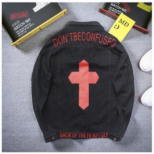 Áo khoác jean nam đen vải đẹp a293 mđ