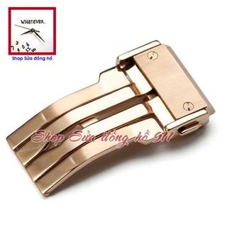 Khóa gập 1 bản lề dành cho dây cao su đồng hồ kiểu Hulot. Màu Vàng hồng - KHU-01VH thumbnail