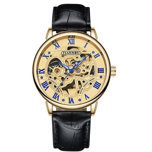 Đồng hồ cơ tự động - lộ cơ - skeleton -  nam dây da - mặt vàng tianbu