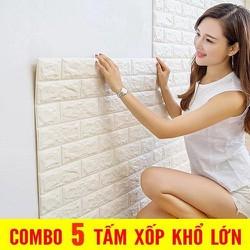 Bộ 5 Miếng Xốp Dán Tường 3D Chịu lực, chống nước chống ẩm mốc 70x77cm