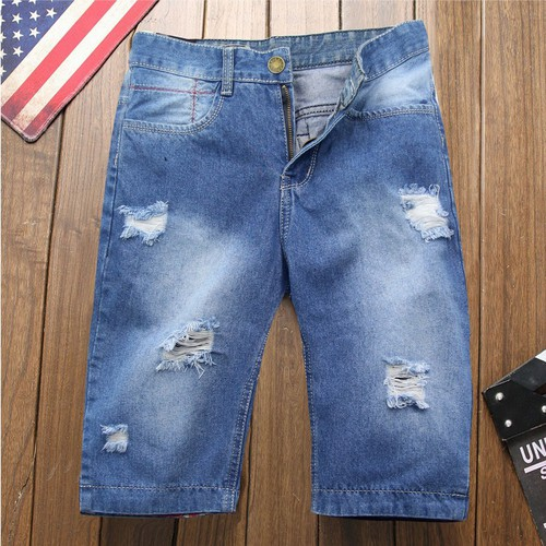 Quần short jeans nam xanh rách vải dày q33 mđ