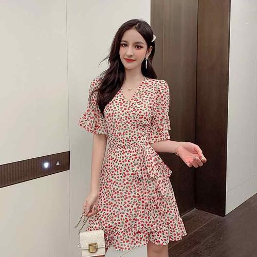 Đầm hoạ tiết quả cherry