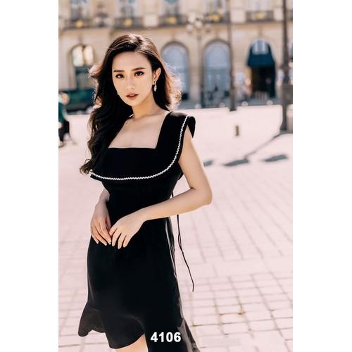 Đầm đen cổ vuông phối ren