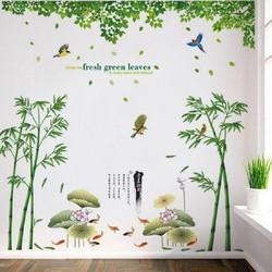 Decal dán tường combo phong cảnh thiên nhiên xanh mát - không gian phòng Á Đông sang trọng