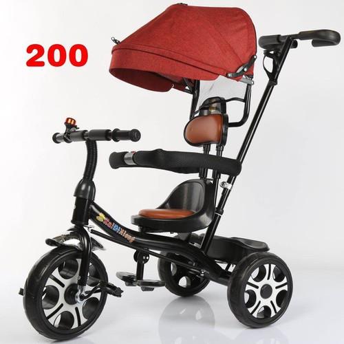 Xe đạp 3 bánh cao cấp  có mái che,ghế bằng da màu đỏ y hình