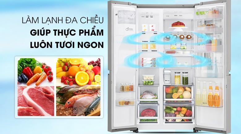 Làm lạnh đa chiều - Tủ lạnh LG Inverter InstaView Door-in-Door 601 lít GR-X247JS