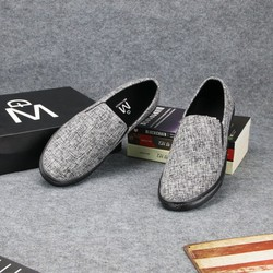 Giày lười vải nam thân xám đế đen đẹp, bền TS213 Tronshop