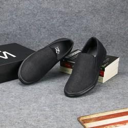 Giày lười vải nam thân đen đế đen đẹp, bền TS212 Tronshop