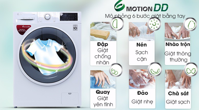 Công nghệ giặt 6 chuyển động - Máy giặt LG inverter 8 kg FC1408S4W2
