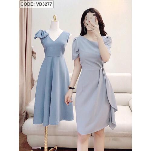 Đầm xanh biển xếp ly eo đính ngọc trai sang trọng