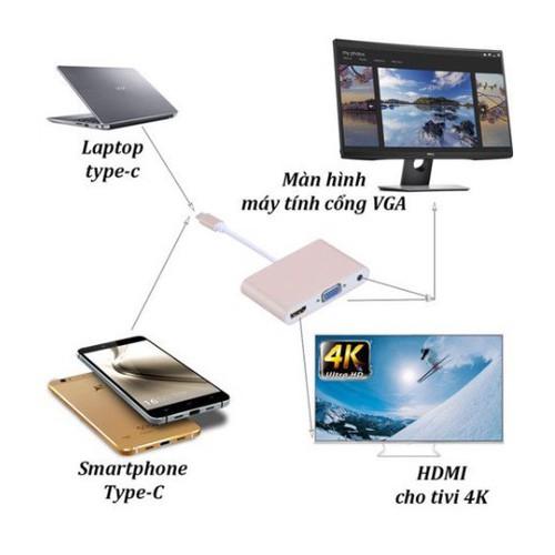 Cáp chuyển đổi usb type c ra hdmi,vga có âm thanh-truyền dữ liệu, hình ảnh và âm thanh  từ điện thoại, laptop lên tivi hoặc màn hình lớn - 12023135 , 19632598 , 15_19632598 , 355000 , Cap-chuyen-doi-usb-type-c-ra-hdmivga-co-am-thanh-truyen-du-lieu-hinh-anh-va-am-thanh-tu-dien-thoai-laptop-len-tivi-hoac-man-hinh-lon-15_19632598 , sendo.vn , Cáp chuyển đổi usb type c ra hdmi,vga có âm tha
