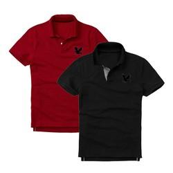 Áo thun nam logo mẫu mới Combo 2 áo Đỏ đô Đen XSAK