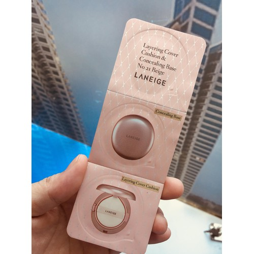 Phấn nước laneige 3 ngăn cover cushion and concealing base 21 sample