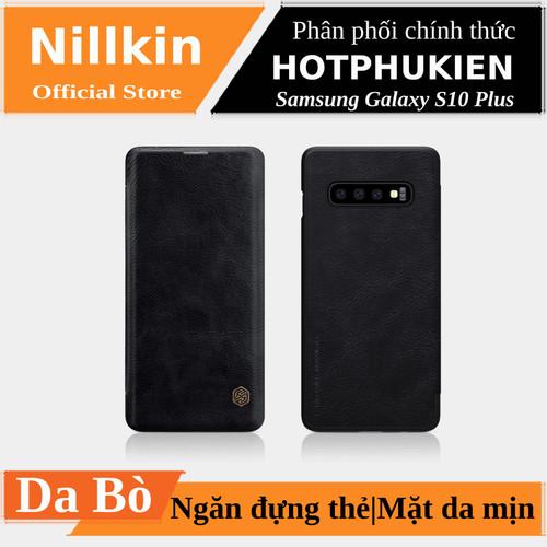 Bao da da bò nillkin qin cho samsung galaxy s10 plus có ngăn đựng thẻ - hàng chính hãng