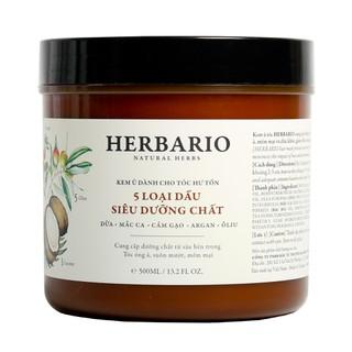 Kem ủ tóc Herbario - 5 Loại dầu siêu dưỡng chất cho tóc 500ml - her-kemutoc-500g thumbnail