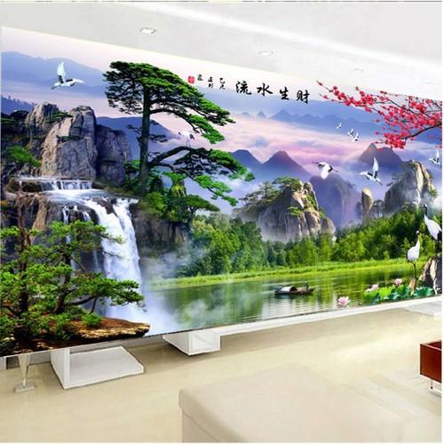 Tranh thêu phong cảnh 150x65cm