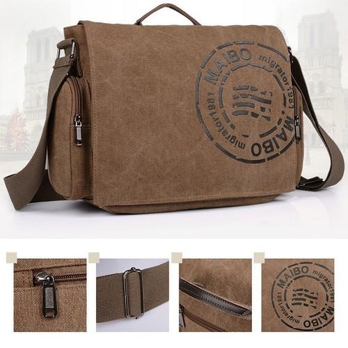 Túi sách đeo chéo canvas mang phong cách hàn quốc cao cấp cho cả nam và nữ thời trang mã 9859 shopaha247 màu ka ki