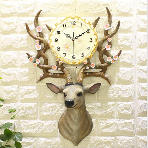 Đồng hồ treo tường đầu hươu tân cương tây tạng cao cấp thiết kế kiểu bắc âu.