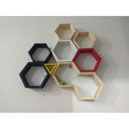 kệ gỗ treo tường lục giác handmade