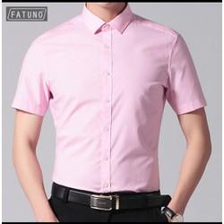 Sơ mi ngắn trơn cao cấp FATUNO phong cách Hàn Quốc trẻ trung màu hồng phấn