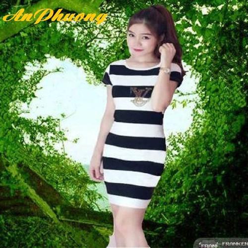 Đầm ôm sọc ngang|đầm thun sọc body vải sợi cotton dệt kim dày co giãn đính đá size từ 45 đến 60kg