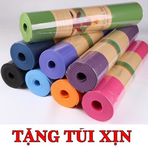 Sale thảm tập gym yoga tpe 8mm cao cấp tặng kèm túi