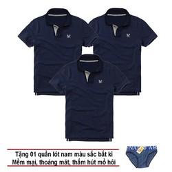 Áo thun nam logo mẫu mới Combo 3 áo Xanh Đen tặng kèm 1 quần lót nam XSAK