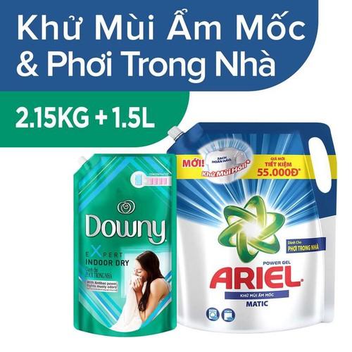 Combo túi nước giặt ariel khử mùi ẩm mốc 2.15kg và nước xả vải downy 1.5l phơi trong nhà